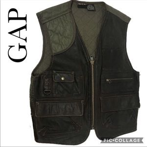 GAP men's leather and quilted utility vest S
